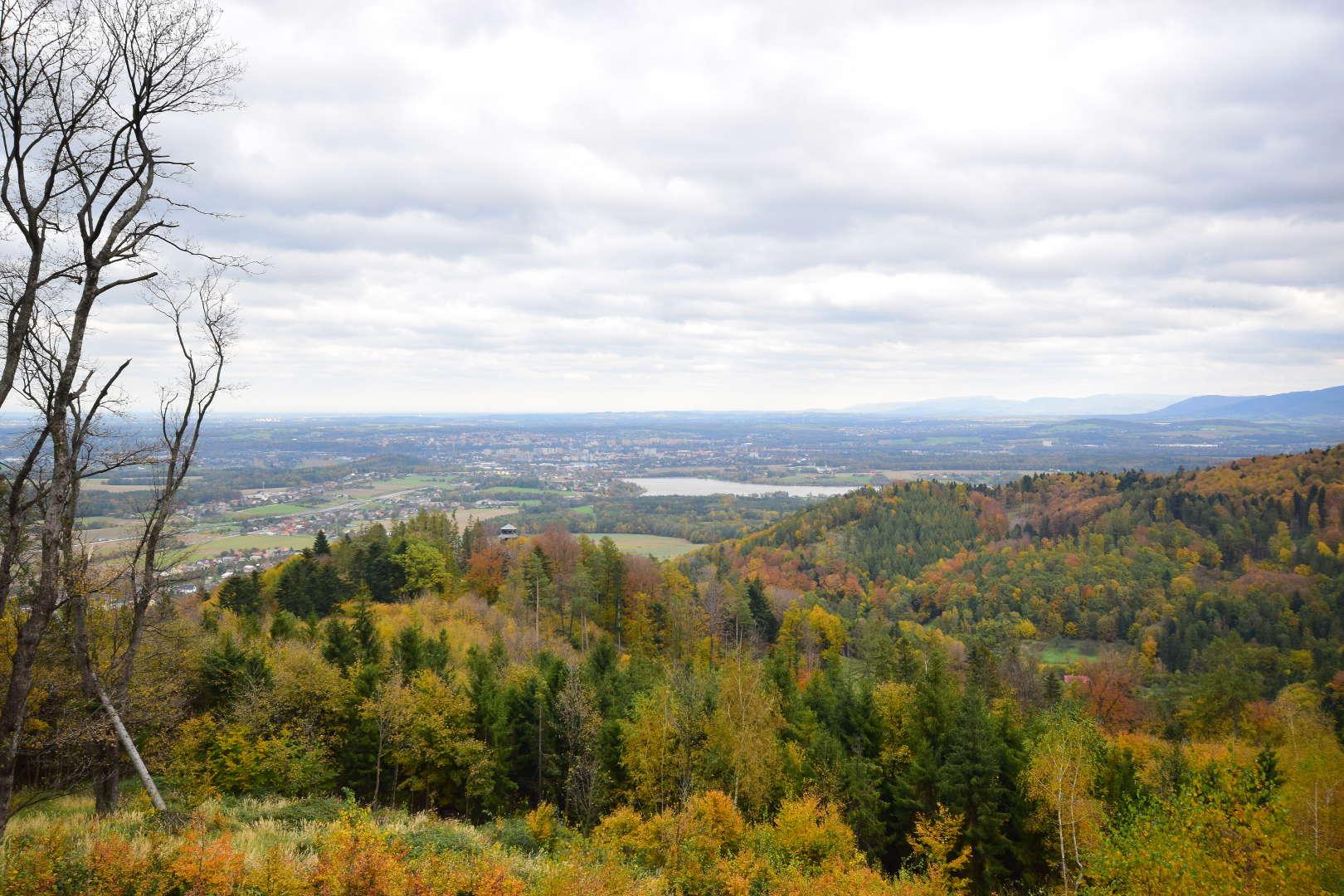 Výhled z Kabátice k rozhledně Panorama