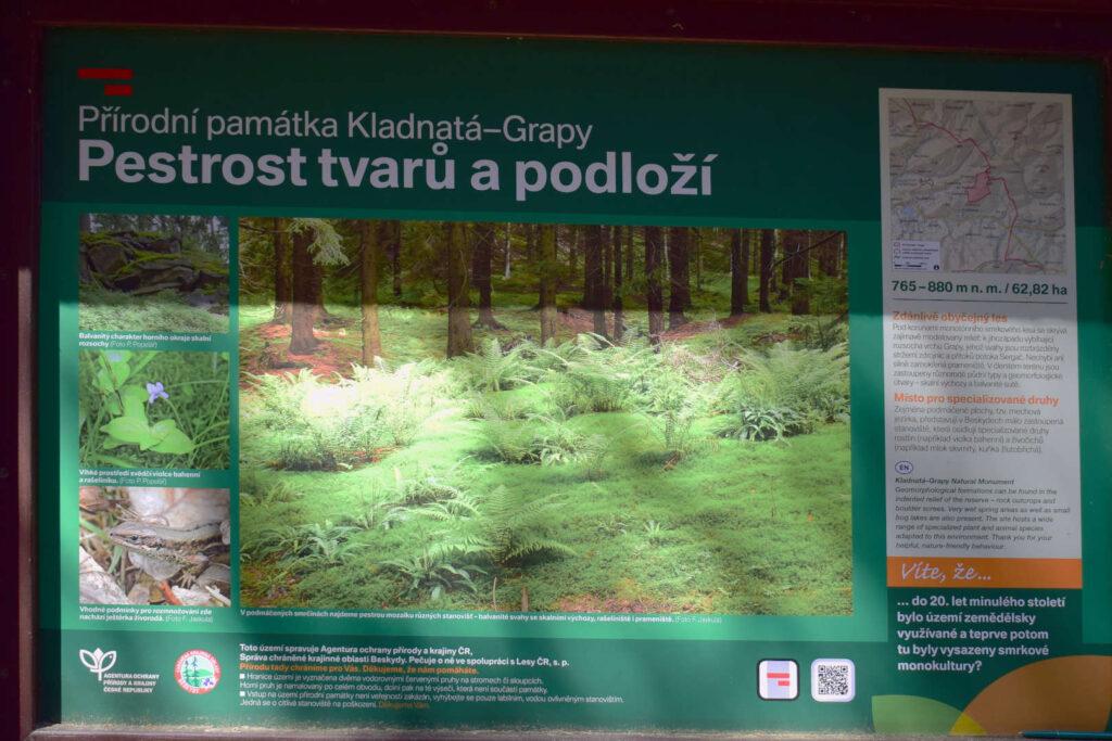 Indormační tabule přírodní památka Kladnatá-Grapy