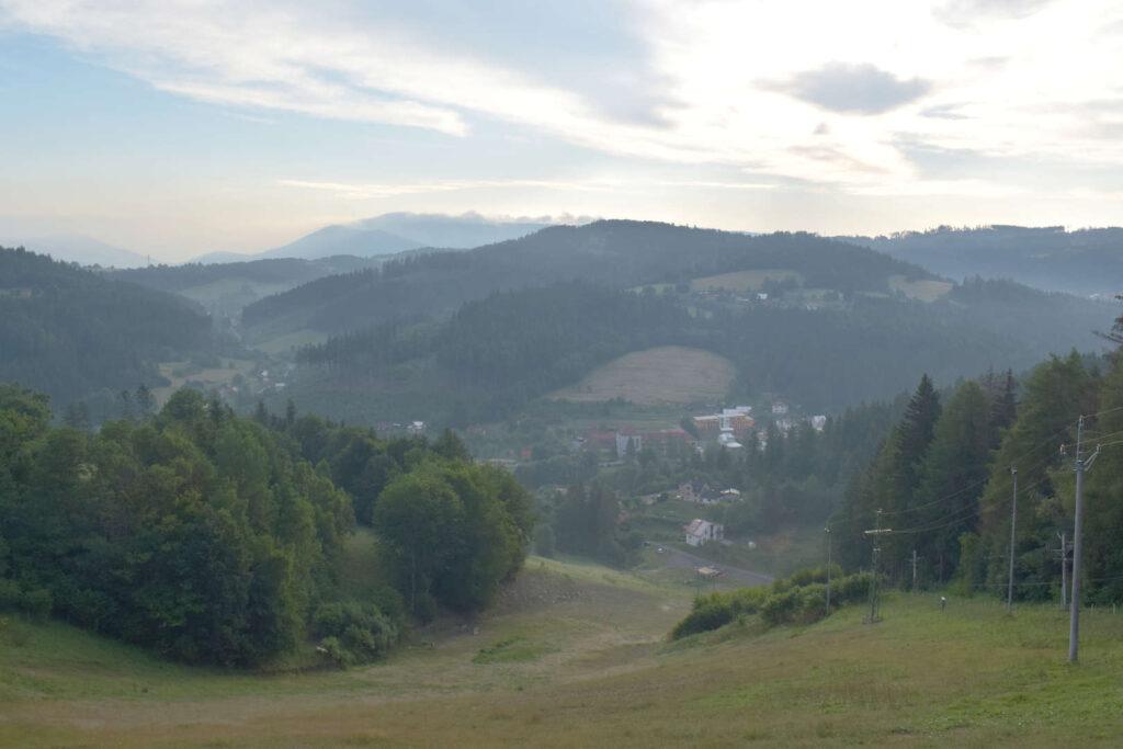 Skiareál Búřov, výhled ze sjezdovky, Valašská Bystřice